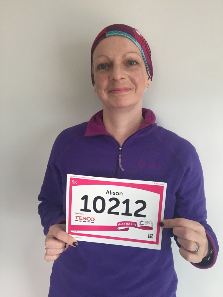 Alison Fletcher,  Emergency Nurse Practitioner, with her Race for Life number