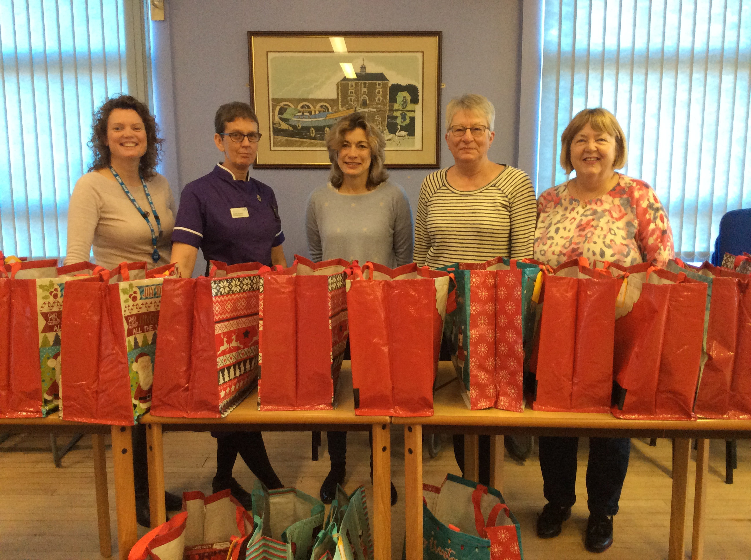 Staff making up hampers for foodbank